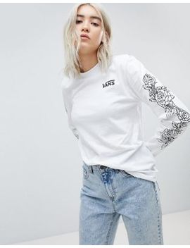Vans Long Sleeve T Shirt With Rose Print Arm by Vans