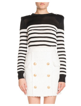 Six Button Tweed Fitted Skirt by Balmain