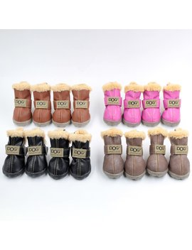 Ship From Usa Dog Australia Boots Pet Antiskid Shoes Winter Warm Skidproof Sneakers Paw Protectors 4 Pcs Set With 1pc Hair Ring by Winsoon