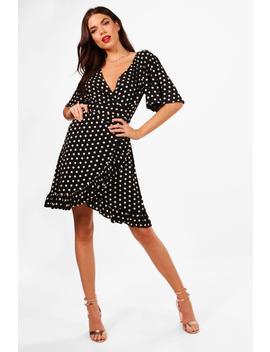 Tall Isabella Spot Print Ruffle Dress by Boohoo