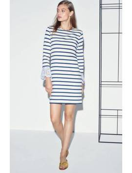 Sea New York Navy Blue Beige Stripe Eyelet Long Sleeve Trim Cotton Dress Small by Sea Ny