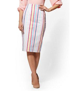 7th Avenue   Multicolor Striped Pencil Skirt by New York & Company