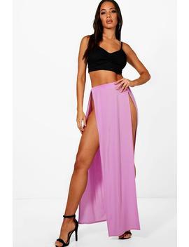 Mara Slinky Double Extreme Split Maxi Skirt by Boohoo