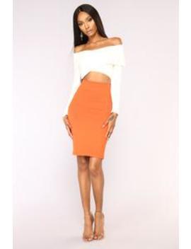 Classy Lady Ponte Skirt   Orange by Fashion Nova