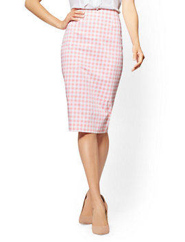 7th Avenue   Pink Gingham Pencil Skirt by New York & Company