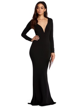 Lucy Black Plunging Mermaid Dress by Windsor