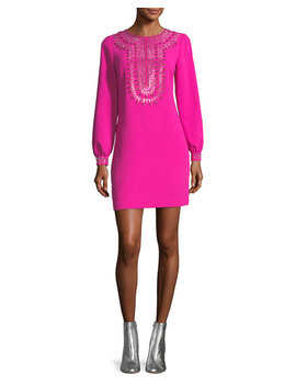 Classic Crepe Embellished Long Sleeve Dress by Trina Turk