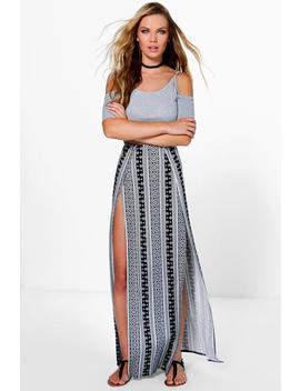Samara Monochrome Thigh High Split Maxi Skirt by Boohoo