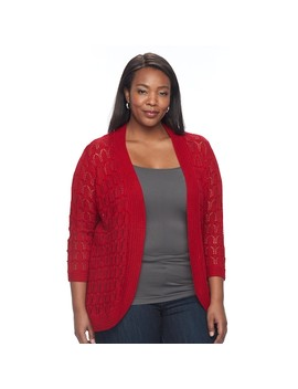 Plus Size Napa Valley Crochet Open Front Cardigan by Kohl's