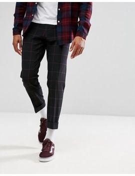 Asos Skinny Crop Smart Pants In Navy Windowpane Check by Asos