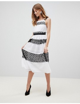 Asos Premium Contrast Lace Midi Prom Dress by Asos Collection