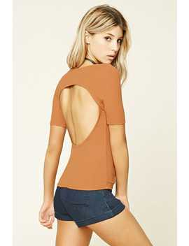 Ribbed Knit Back Cutout Top by F21 Contemporary