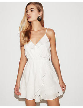 Floral Eyelet Ruffle Wrap Cami Dress by Express