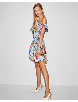 Floral Asymmetrical Slip Dress by Express