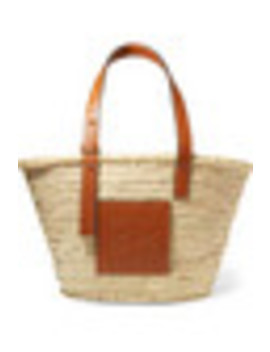 Medium Leather Trimmed Woven Raffia Tote by Loewe