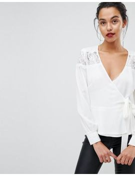 Outrageous Fortune Ruffle Detail Lace Insert Wrap Blouse by Outrageous Fortune