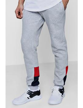 Colour Block Panelled Slim Fit Joggers by Boohoo