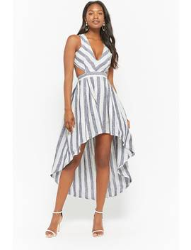 Striped High Low Linen Dress by Forever 21