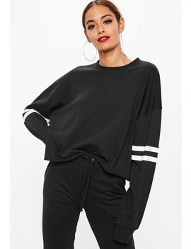 Black Drop Shoulder Boxy Stripe Top by Missguided