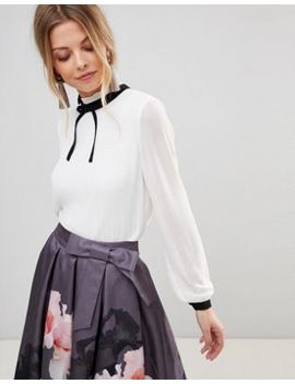 Ted Baker Pleated High Neck Bow Top by Ted Baker