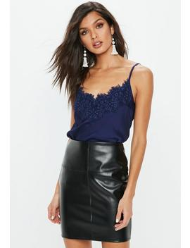 Navy Eyelash Lace Trim Cami Top by Missguided