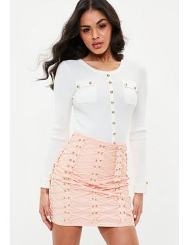 White Button Front Pocket Ribbed Knitted Top by Missguided