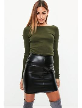 Khaki Button Sleeve Ribbed Knitted Jumper by Missguided