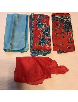 "4 Scarves Square 100 Percents Silk Red Blue Scarf Vtg Lot Ladies Flowers 17"" Solid by Ebay Seller"
