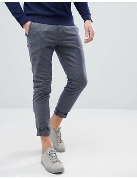 Selected Homme Slim Fit Trousers In Chambray Cotton by Selected Homme