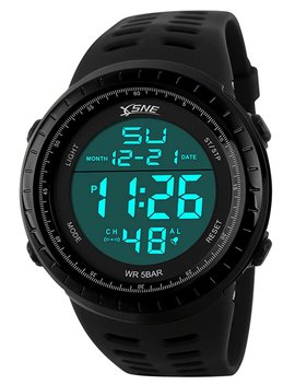 Digital Sports Watch Water Resistant Outdoor Easy Read Military Back Light Black Big Face Men's 1167 by Sne
