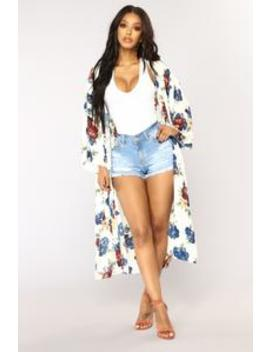 Natalia Floral Kimono   Ivory/Floral by Fashion Nova