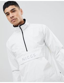 Nicce London Overhead Jacket In White With Reflective Logo by Nicce London