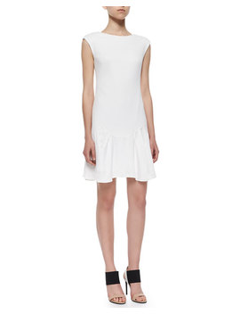 Knit Pique Flare Skirt Dress, White by Rebecca Taylor