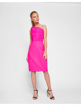 One Shoulder Frill Bodycon Dress by Ted Baker
