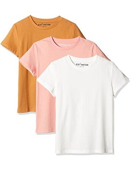 Kid Nation Kids' 3 Pack Short Sleeve Crew Neck Cotton Jersey Tee For Boys Or Girls by Kid Nation
