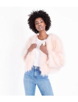 Cameo Rose Pink Faux Fur Coat by New Look