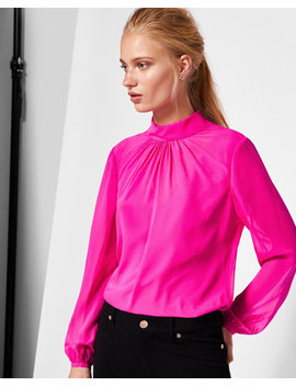 Ruched High Neck Silk Blouse by Ted Baker