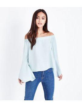 Petite Pale Blue Hanky Sleeve Bardot Top by New Look