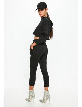 Petite Black Hooded Crop Sweatshirt by Missguided