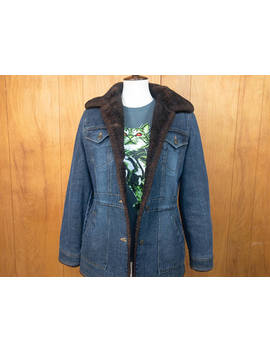 Vintage Denim Jacket Faux Fur Vegan Shearling Coat 80s Clothing Retro Fur Lined ~ Small by Etsy