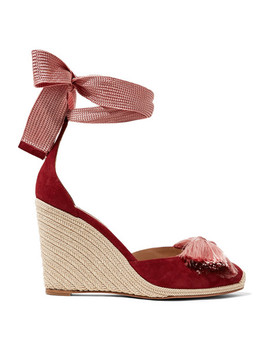 Lotus Blossom Fringed Bow Embellished Suede Wedge Espadrilles by Aquazzura