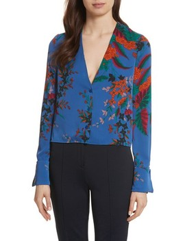 Cuffed Sleeve Floral Silk Top by Diane Von Furstenberg