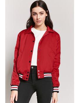 Varsity Stripe Jacket by F21 Contemporary