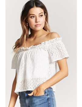 Off The Shoulder Floral Crochet Top by Forever 21