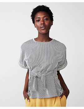 Striped Tie Waist Rolled Sleeve Tee by Express