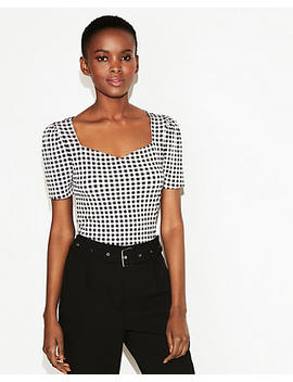 Checkered Sweetheart Neck Puff Shoulder Top by Express
