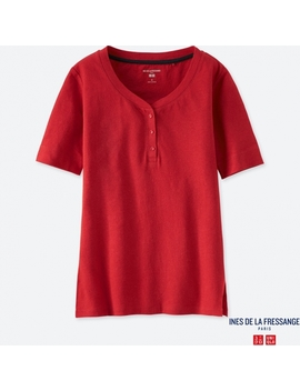 Women Idlf Linen Henley Neck Short Sleeve T by Uniqlo