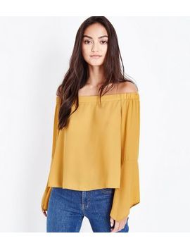 Petite Mustard Hanky Sleeve Bardot Top by New Look