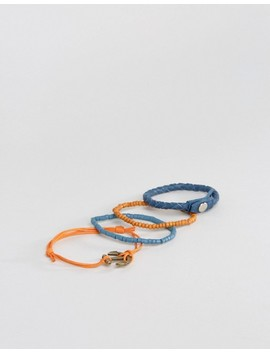 Asos Leather And Beads Bracelet Pack With Anchor Clasp by Asos