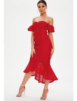 Red Bonded Fishnet Bardot Midi Dress by Missguided